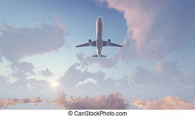 élevé, avion ligne, voler, ciel, aérien