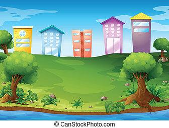 élevé, bâtiments, travers, lac