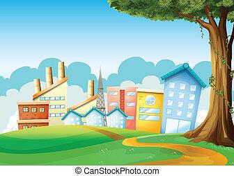élevé, bâtiments, usines, collines, travers