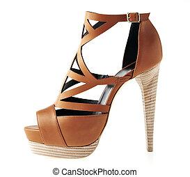 élevé, brun, chaussure, talon