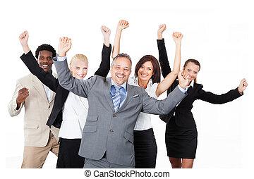 élevé, business, réussi, sur, bras, fond, équipe, blanc