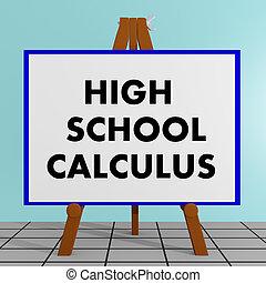 élevé, calcul, école, concept