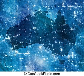 élevé, carte, australie, technologie
