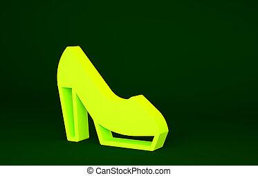 élevé, chaussure, icône, 3d, femme, render, isolé, talon, jaune, illustration, concept., minimalisme, vert, arrière-plan.