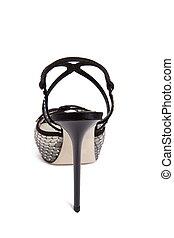 élevé, chaussure noire, talon, femmes