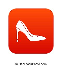 élevé, chaussure, numérique, talon, rouges, icône