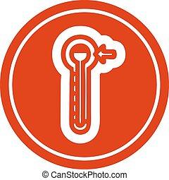 élevé, circulaire, température, icône