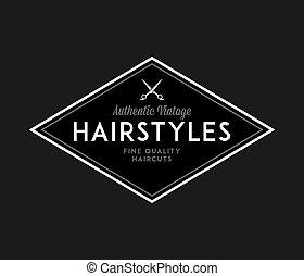 élevé, coiffeur, coiffures, noir, blanc, qualité