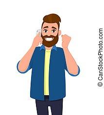 élevé, concept, humain, quelques-uns, gesture., conversation, smartphone, poing, jeune, émotions, cellule, parler, heureux, barbu, bon, signe., téléphone, nouvelles, homme, illustration., reussite, entendu, quoique, geste