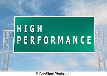 élevé, concept, performance