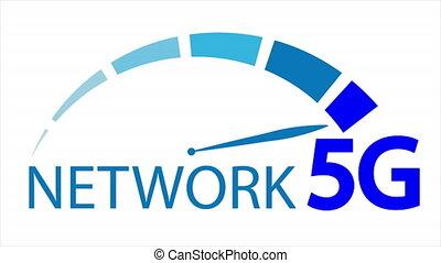 élevé, connexion, 5g, vitesse internet, échelle