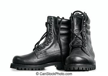 élevé, cuir, noir, bottes