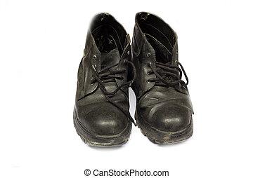 élevé, cuir, noir, isolé, bottes