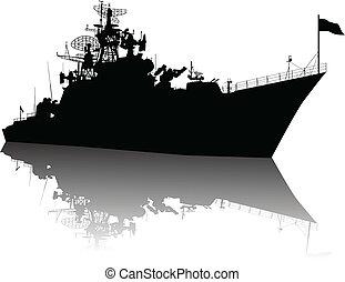 élevé, détaillé, bateau, silhouette
