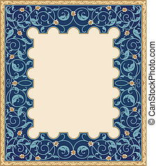 élevé, détaillé, cadre, art, islamique