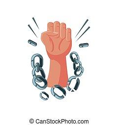 élevé, détaillé, chaîne, main, international, cassé, droits homme