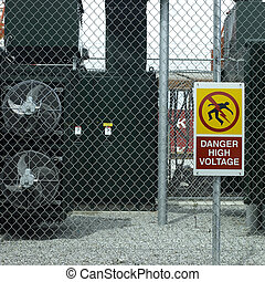élevé, danger, tension, signe