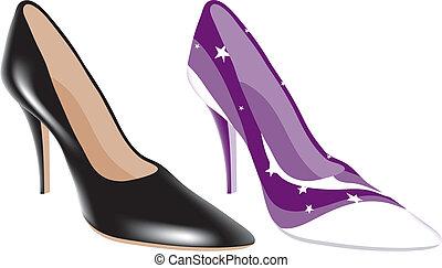 élevé, différent, couleurs, chaussures, talon