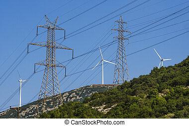 élevé, elec, turbines, tension, vent