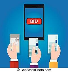 élevé, enchère, argent, offre, espèces, main, téléphone, mobile, enchère, ligne, bouton