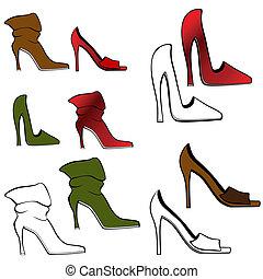 élevé, ensemble, chaussure, talon