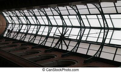 élevé, entrepôt, plafond, industriel, ventilateur