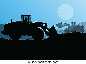 élevé, excavateur, seau, site, chargeur, vecteur, construction