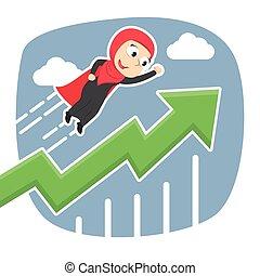 élevé, femme affaires, voler, arabe, graphique, super