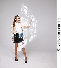 élevé, femme, moderne, virtuel, boutons, urgent, technologie, multimédia, fond, type