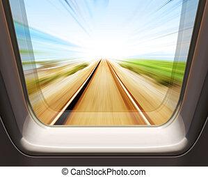 élevé, fenêtre, train, vitesse
