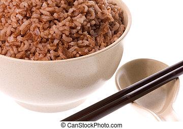 élevé, fibre, riz, cuit vapeur, rouges