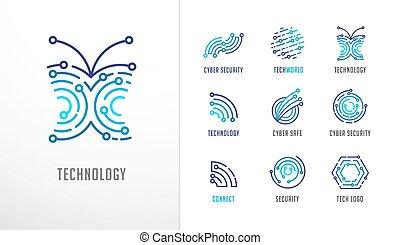 élevé, fintech, technologie, icônes, collection, symboles, technologie, logos., biotechnologie
