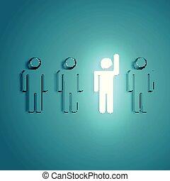 élevé, foule, main, illustration, incandescent, vecteur, ressortir, homme