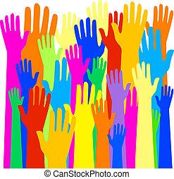 élevé, grand, communauté, mains