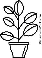 élevé, houseplant, icône, style, contour