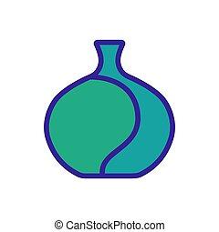 élevé, icône, capacité, vase, contour, vecteur, illustration
