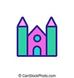 élevé, icône, escrime, temple, contour, vecteur, illustration