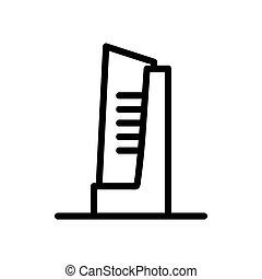 élevé, icône, vecteur, gratte-ciel, contour, illustration