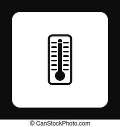 élevé, indique, thermomètre, température, icône