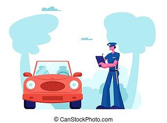 élevé, inspecteur, vitesse, police, amende, caractère, écrire, sécurité, officier, plat, road., auto, illustration, trafic, droit & loi, dessin animé, accident, violation, policier, voiture, protection, contrôle, vecteur, stand