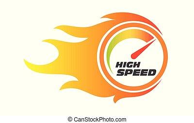 élevé, jauge, flamme, internet, performance, vitesse