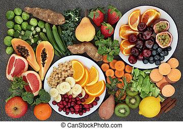 élevé, légume, fibre, sélection, fruit