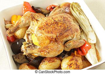 élevé, légumes, angle, poulet, rôti
