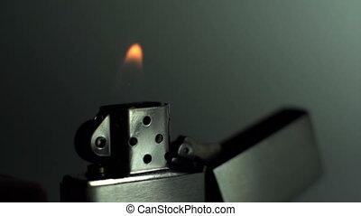 élevé, lent, coup, allumé, être, vitesse, métal, mouvement, fs700, appareil photo, flamme, briquet, sony, super, sien