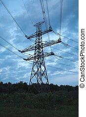 élevé, ligne, électrique, tension