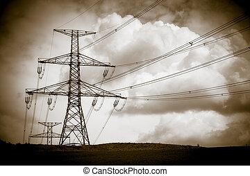 élevé, lignes, tension, puissance