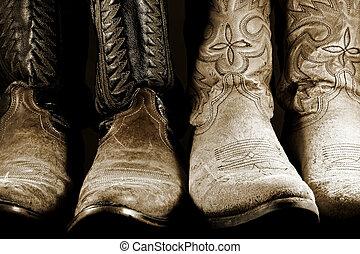 élevé, lumière, contraste, bottes, cow-boy