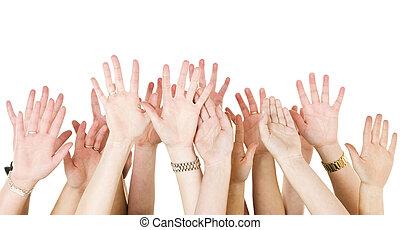 élevé, mains humaines