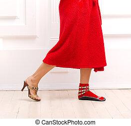élevé, maison, girl, chaussures, talon