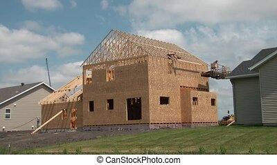 élevé, maison, ouvriers, construction, nouveau